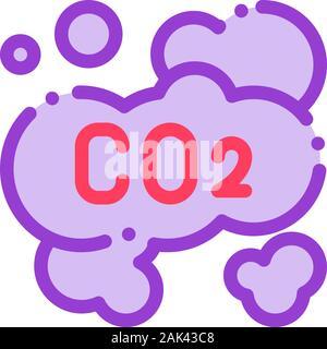 Co2 Smoulder Smoke Steam Air Vector Thin Line Icon - Stock Photo