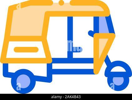 Public Transport Rickshaw Vector Thin Line Icon - Stock Photo