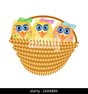 Easter eggs in basket isolated on white background. Cartoon style Easter basket and festive colorful eggs inside. Happy Easter chicks. Stock vector - Stock Photo