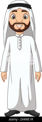 Cartoon Saudi Arab man in white clothes - Stock Photo