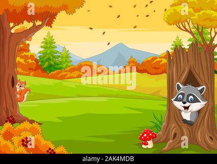 Cartoon squirrel with raccoon in the autumn forest - Stock Photo
