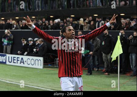 Milan Italy, 15 February 2012,' G.MEAZZA - SAN SIRO' Stadium, UEFA Champions League 2011/2012 ,AC Milan - FC Arsenal : Robinho celebrates after the goal - Stock Photo