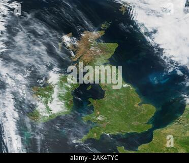 A somewhat rare view of the British Isles from space with hardly any cloud cover on 14 May 2019 - Stock Photo