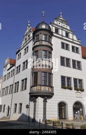 Torgau: Rathaus auf dem Marktplatz, Eckerker am suedlichen Querhaus, Leipzig | usage worldwide - Stock Photo