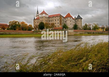 Torgau: Renaissanceschloss Hartenfels an der Elbe, Leipzig   usage worldwide - Stock Photo
