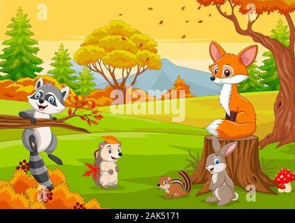 Cartoon wild animals in the autumn forest - Stock Photo