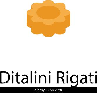 Ditalini rigati pasta icon, isometric style - Stock Photo
