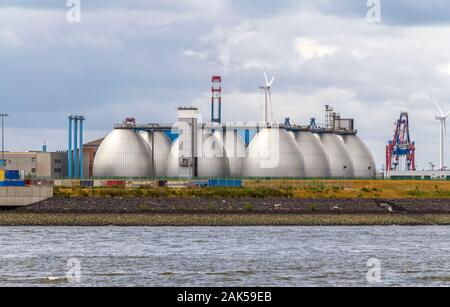 waterworks scenery seen at the Port of Hamburg in Germany - Stock Photo