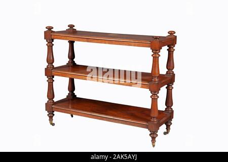 BROWN color wooden Shelves unit isolated on white background with clipping path