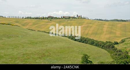 Attractive landscape of the Crete Senesi, Tuscany, Italy - Stock Photo
