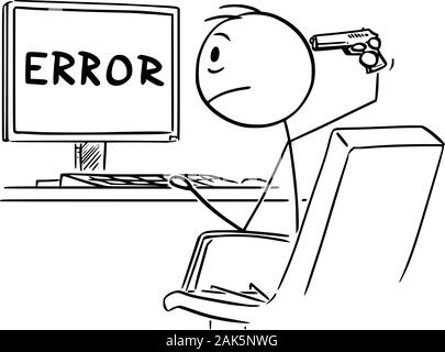 Vector cartoon stick figure drawing of desperate man or businessman working on computer and watching network or program error Message. He is going to kill yourself with hand gun. - Stock Photo