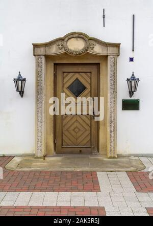 historic door seen in a a city named Jever which is located in East Frisia in Northern Germany - Stock Photo