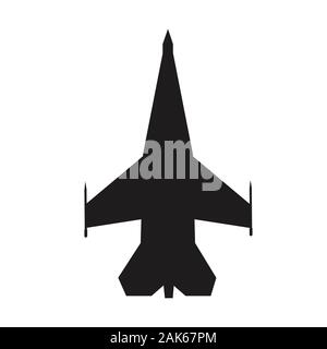 fighter aircraft icon on white background. flat style. airplane symbol. military airplane sign. - Stock Photo