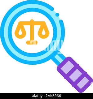 Court Magnifier Law And Judgement Icon Vector Illustration - Stock Photo