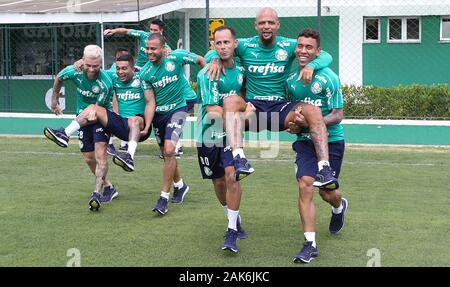 SÃO PAULO, SP - 07.01.2020: TREINO DO PALMEIRAS - The SE Palmeiras players during training at the Football Academy. (Photo: Cesar Greco/Fotoarena) - Stock Photo