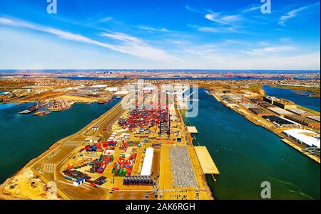 Aerial view on global container terminal in Bayonne reflex - Stock Photo