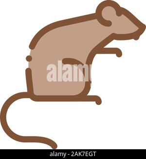 Rat Icon Vector Outline Illustration - Stock Photo