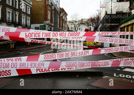 London, UK. 7th Jan, 2020. Police tapes at a crime scene in London. Credit: Dinendra Haria/SOPA Images/ZUMA Wire/Alamy Live News Stock Photo