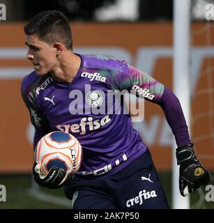 SÃO PAULO, SP - 07.01.2020: TREINO DO PALMEIRAS - Goalkeeper Vinicius of SE Palmeiras during training at the Football Academy. (Photo: Cesar Greco/Fotoarena) - Stock Photo
