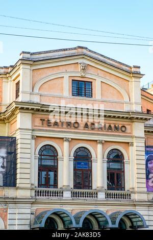 Detail of Teatro Adriano facade, Piazza Cavour, Prati District, Rome, Italy - Stock Photo