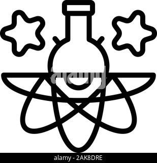 Atom chemical flask icon, outline style - Stock Photo