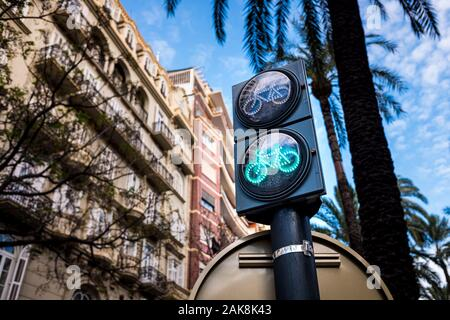 Traffic light for bicycles in a bike lane in a European city, Valencia, Spain. - Stock Photo
