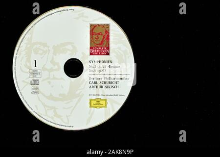 Historic music recording on cd of the Berlin Philharmonic conducted by Schuricht and Nikish playing Beethoven's symphonies 3 and 5. - Stock Photo
