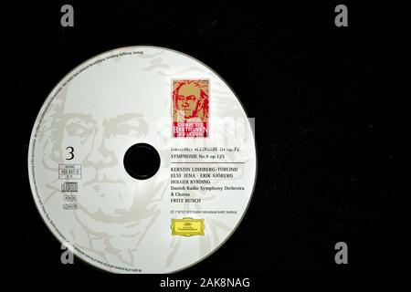 Cover of historic music recording on cd of the composer Beethoven's overture Leonora and his symphony 9 both played by the Danish radio symphony orche - Stock Photo