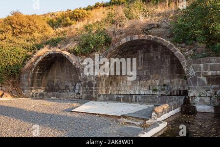 ancient basalt stone arches that were built over natural springs that provided water to byzantine and talmudic area villages near natur in northern is - Stock Photo