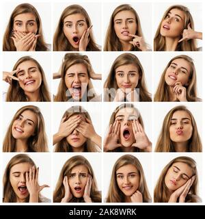 collage of portraits of beautiful woman with different positive and negative emotions on white background - Stock Photo