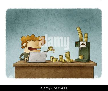 Worker with the desk full of paper cups and a coffee machine. Coffee addiction concept