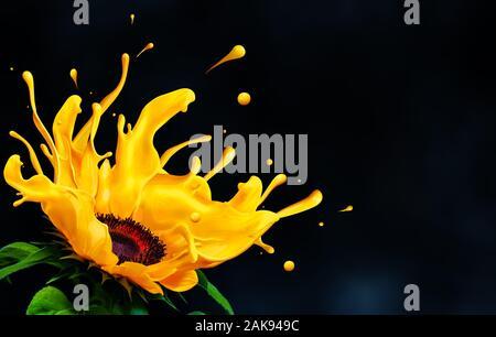 Sunflower melting liquid color splash with copy space.