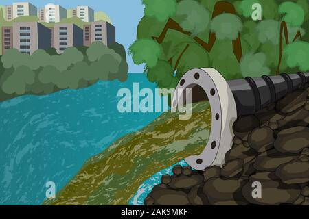 Wastewater. Drainage pipe with dirty waste in the city. Dirty water stems from the pipe polluting the river discharge of liquid chemical waste. Vector - Stock Photo