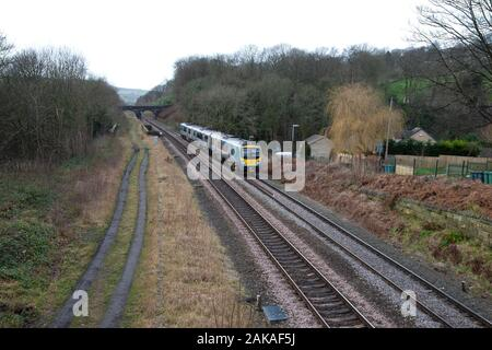 TransPennine Express Class 185 train heading towards Huddersfield en route to Newcastle - Stock Photo