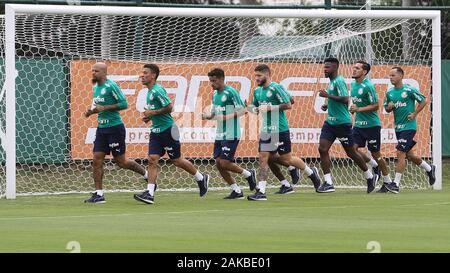 SÃO PAULO, SP - 08.01.2020: TREINO DO PALMEIRAS - The SE Palmeiras players during training at the Football Academy. (Photo: Cesar Greco/Fotoarena) - Stock Photo