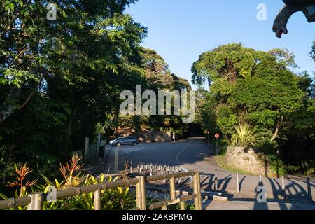 The car park and road access to the Vista Chinesa lookout in the Tijuca Forest of Rio de Janeiro. - Stock Photo