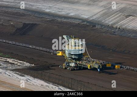 Brown coal / lignite being extracted by huge excavator at the Nochten opencast pit, lignite mine near Weisswasser, Saxony, Eastern Germany