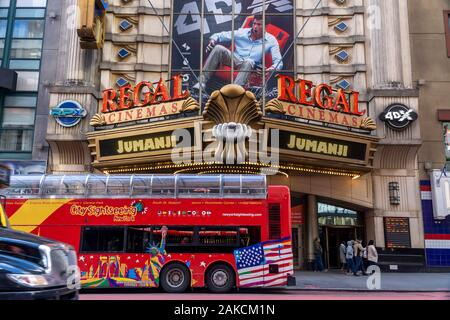 The Regal Cinemas in Times Square in New York are seen on Sunday, January 5, 2020. Box office gross for 2019 was $11.4 biliion, less than 2018 at $11.8 billion, despite the fact that the highest grossing movie of all-time was 2019Õs ÒAvengers: EndgameÓ.  (© Richard B. Levine) - Stock Photo