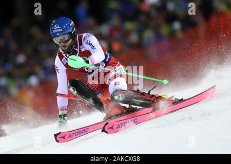 Madonna di Campiglio, Italy. 8th Jan 2020. FIS Alpine Ski World Cup Men's Night Slalom in Madonna di Campiglio, Italy on January 8, 2020, Marco Schwarz (AUT) - Editorial Use Credit: Action Plus Sports Images/Alamy Live News - Stock Photo