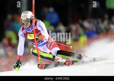 Madonna di Campiglio, Italy. 8th Jan 2020. FIS Alpine Ski World Cup Men's Night Slalom in Madonna di Campiglio, Italy on January 8, 2020, Ramon Zenhaeusern (SUI) - Editorial Use Credit: Action Plus Sports Images/Alamy Live News - Stock Photo