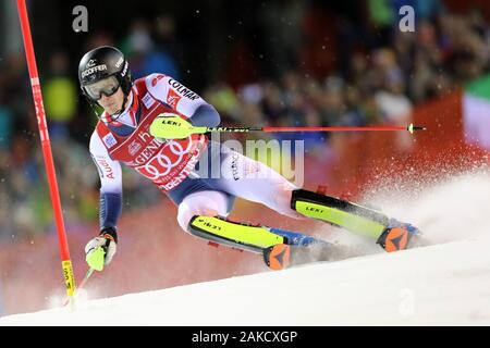 Madonna di Campiglio, Italy. 8th Jan 2020. FIS Alpine Ski World Cup Men's Night Slalom in Madonna di Campiglio, Italy on January 8, 2020, Clement Noel (FRA)- Editorial Use Credit: Action Plus Sports Images/Alamy Live News - Stock Photo