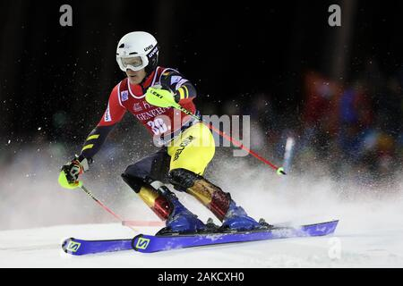Madonna di Campiglio, Italy. 8th Jan 2020. FIS Alpine Ski World Cup Men's Night Slalom in Madonna di Campiglio, Italy on January 8, 2020, Armand Marchant (BEL) - Editorial Use Credit: Action Plus Sports Images/Alamy Live News - Stock Photo