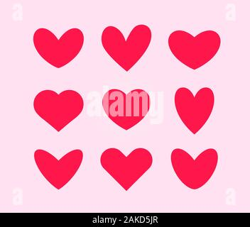 Pink hearts vector icon set, Valentines Day decoration, flat style signs. - Stock Photo