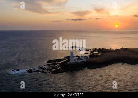 Aerial view of Praia Dona De Maria Pia lighthouse in Santiago - Capital of Cape Verde Islands - Cabo Verde - Stock Photo