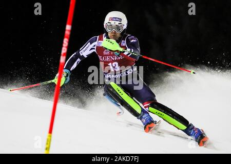 Madonna di Campiglio, Italy, 08 Jan 2020, ryding dave (gbr) 8th classified during FIS AUDI World Cup - Slalom Men - Ski - Credit: LPS/Sergio Bisi/Alamy Live News - Stock Photo