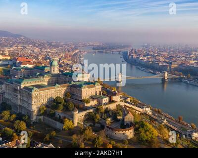 Budapest, Hungary, aerial view of Budapest cityscape at sunrise in autumn season.