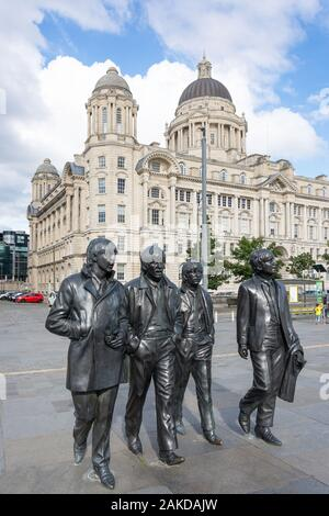 The Beatles Statue, Liverpool Pier Head, Liverpool, Merseyside, England, United Kingdom - Stock Photo