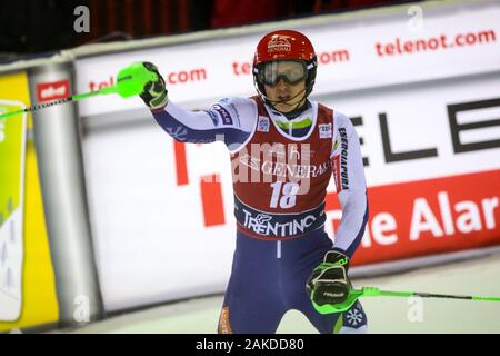 Madonna Di Campiglio, Italy. 08th Jan, 2020. hadalin stefan slo during FIS AUDI World Cup - 3Tre - Night Men Slalom, Ski in Madonna di Campiglio, Italy, January 08 2020 Credit: Independent Photo Agency/Alamy Live News - Stock Photo