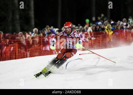 Madonna Di Campiglio, Italy. 08th Jan, 2020. khoroshilov alexander rus during FIS AUDI World Cup - 3Tre - Night Men Slalom, Ski in Madonna di Campiglio, Italy, January 08 2020 Credit: Independent Photo Agency/Alamy Live News - Stock Photo