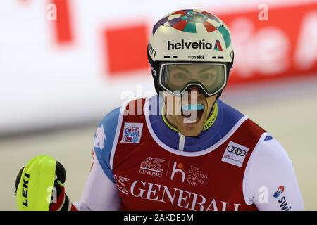 Madonna di Campiglio, Italy. 8th January, 2020. FIS Alpine Ski World Cup Men's Night Slalom in Madonna di Campiglio, Italy on January 8, 2020, Daniel Yule (SUI) Photo: Pierre Teyssot/Espa-Images Credit: European Sports Photographic Agency/Alamy Live News - Stock Photo